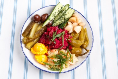 Pickled cabbage, cucumbers, pickled apple, garlic